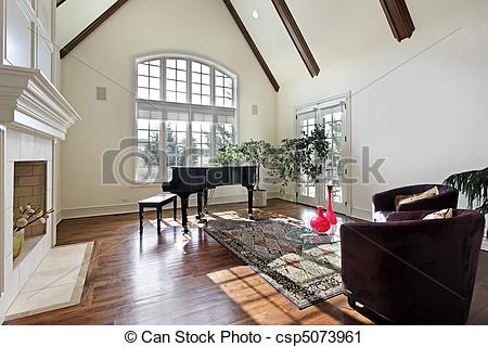 Stock Photography of Living room with wood ceiling beams.