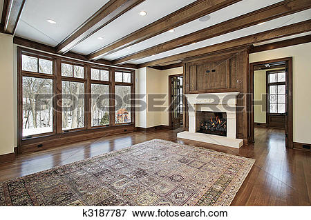 Picture of Family room with wood ceiling beams k3187787.
