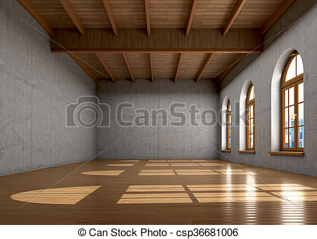 Stock Illustration of Concrete walls, a large room with windows.