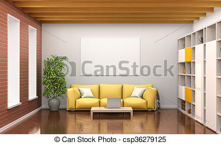 Clip Art of room interior with yellow sofa, large windows, wooden.