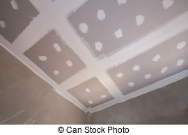 Stock Photography of gypsum board ceiling construction site.