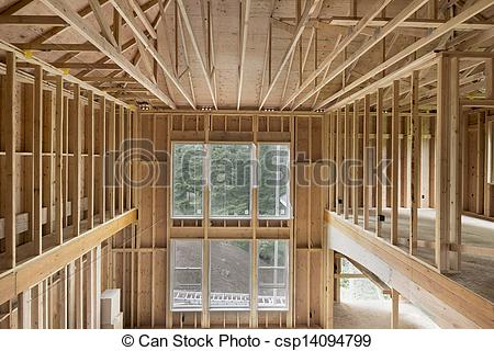 Stock Photographs of New Construction Home High Ceiling Wood Stud.