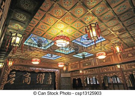 Stock Photography of Exquisite chandelier and ceiling decoration.