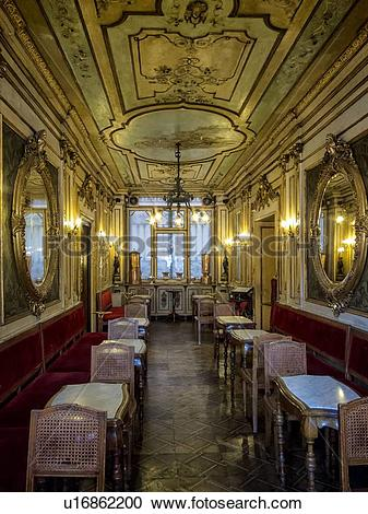 Stock Photography of Cafe Florian: interior view with ornate.