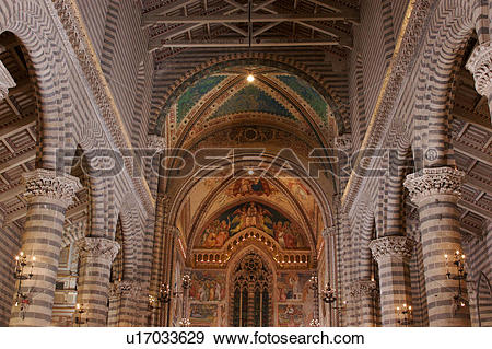 Stock Photograph of view of central nave illuminated, with striped.