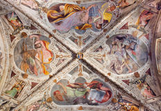 Brescia Italy 2016 Ceiling Fresco Four Evangelists Stock.