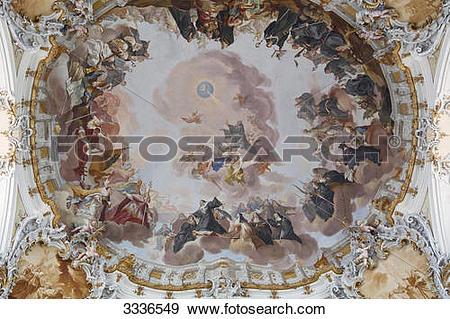Stock Photograph of Ceiling fresco of an abbey, Ottobeuren.
