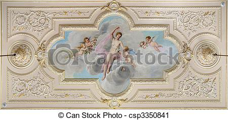 Stock Photography of ceiling fresco decorated with figure of a.