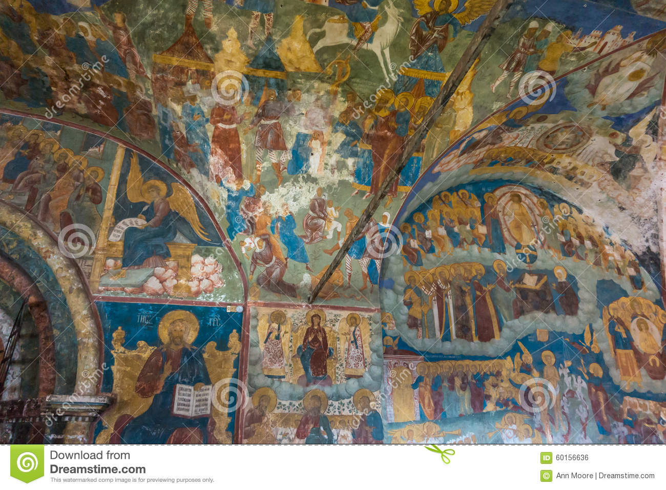 Historic Religious Fresco Paintings On Ceiling Of The Entrance.
