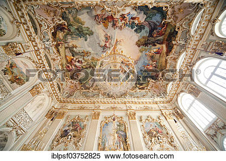 """Stock Image of """"Ceiling frescoes and chandeliers at Schloss."""