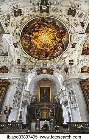 """Stock Image of """"Main altar and ceiling frescoes, Parish Church of."""