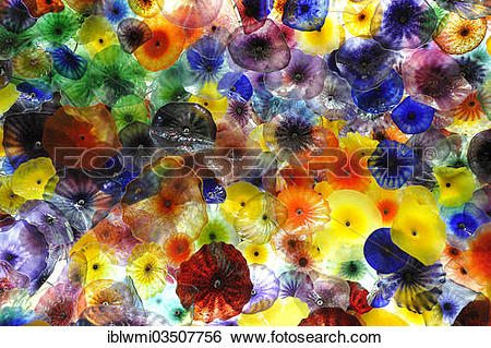 """Stock Images of """"Interior, glass ceiling with glass flowers."""