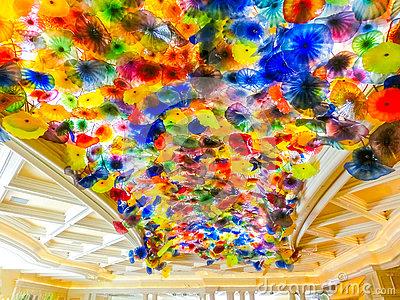 Ceiling Of The Bellagio Hotel In Las Vegas Stock Photo.