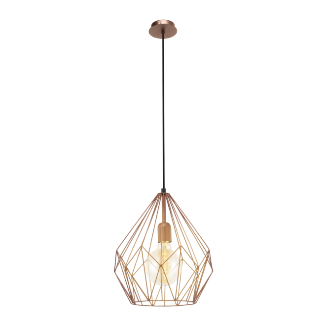 GEOMETRIC contemporary copper frame ceiling pendant.