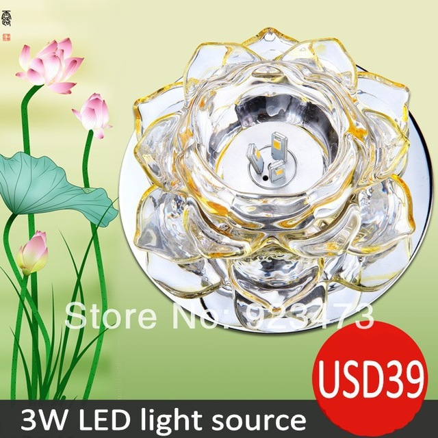 Wholesale 3W led lotus flower ceiling light crystal lampshade.