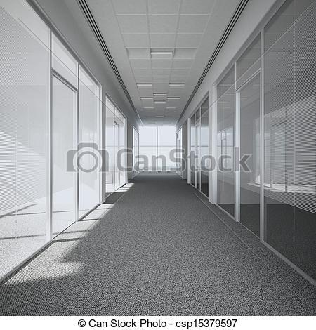 Stock Illustration of office corridor 3d render csp15379597.