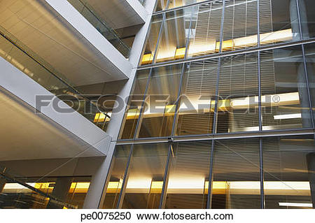 Stock Photography of Walkways in modern office building pe0075250.