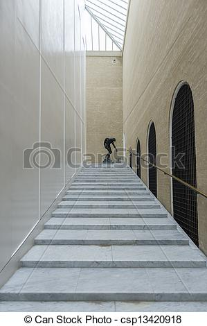 Clipart of Inside corridor with shallow steps, a glass skylight.