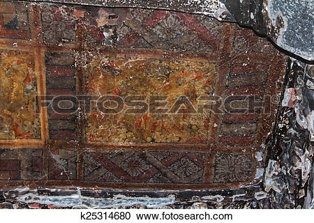 Stock Photography of Remains ceiling painting of Nymphs dancing in.