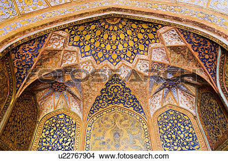 Stock Photo of Elaborate paintings on the ceiling of a mausoleum.