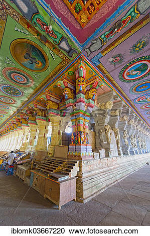 """Stock Photography of """"Colourfully painted pillars and ceiling."""