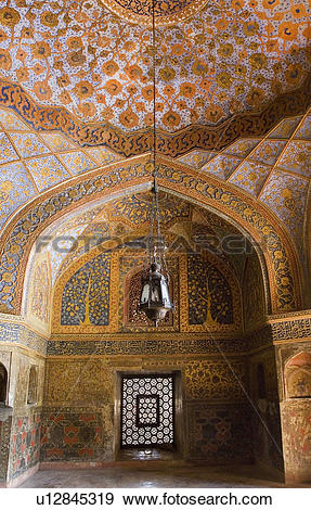 Stock Photograph of Elaborate paintings on the ceiling of a.