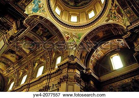Picture of Dome and vaulted ceiling with Baroque paintings.