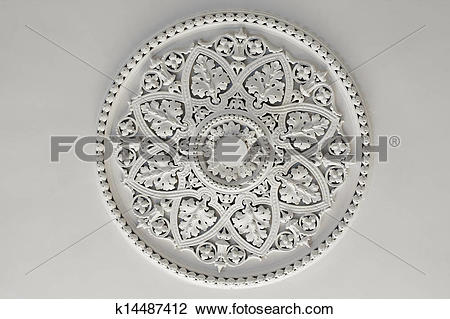 Stock Photo of Plaster Ceiling Rose or plate k14487412.