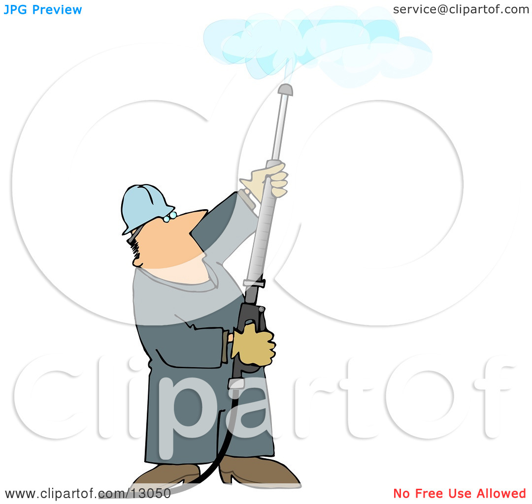 Man Using a Power Washer to Clean a Ceiling Clipart Illustration.
