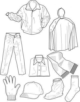 Pakaian Garis Kaus Kaki Celana Jaket Clip Art.