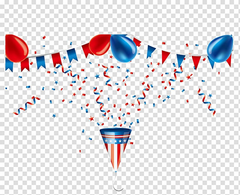 United States of America flag themed party balloon and hat.