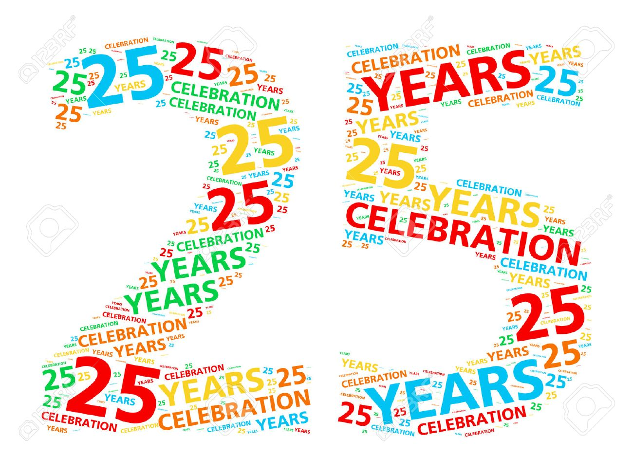 Colorful word cloud for celebrating a 25 year birthday or anniversary.