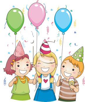 Picture of Three Children Celebrating and Holding Balloons At a.