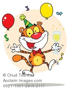 Clipart Illustration of A Happy Tiger Celebrating New Years Eve.