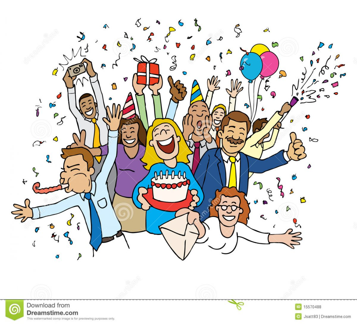Office Birthday Celebration Clipart.