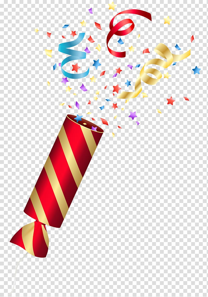 Red and yellow party confetti popper, Confetti Birthday cake.