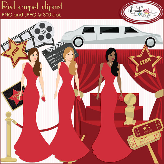Red carpet clipart, Hollywood clipart, Oscar ceremony clipart.