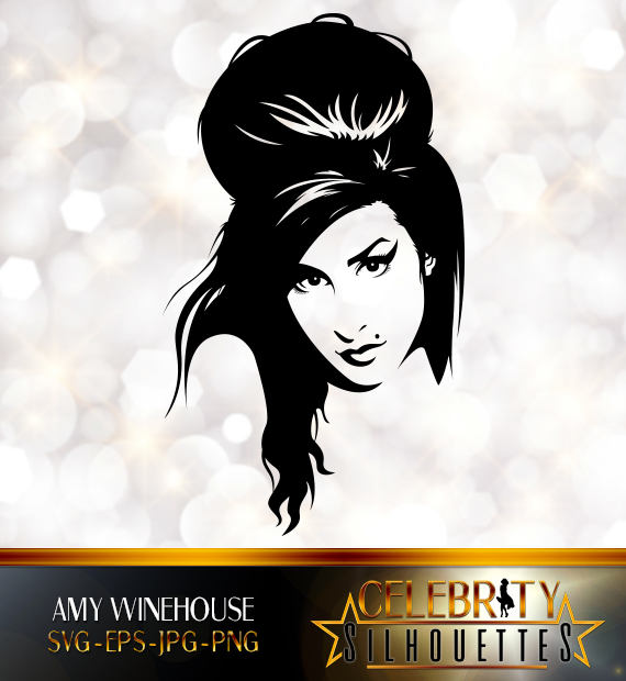 Amy Winehouse Silhouette, artist silhouettes, celebrity silhouette.