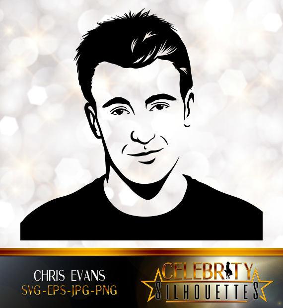 Chris Evans Silhouette, artist silhouettes, celebrity silhouette.