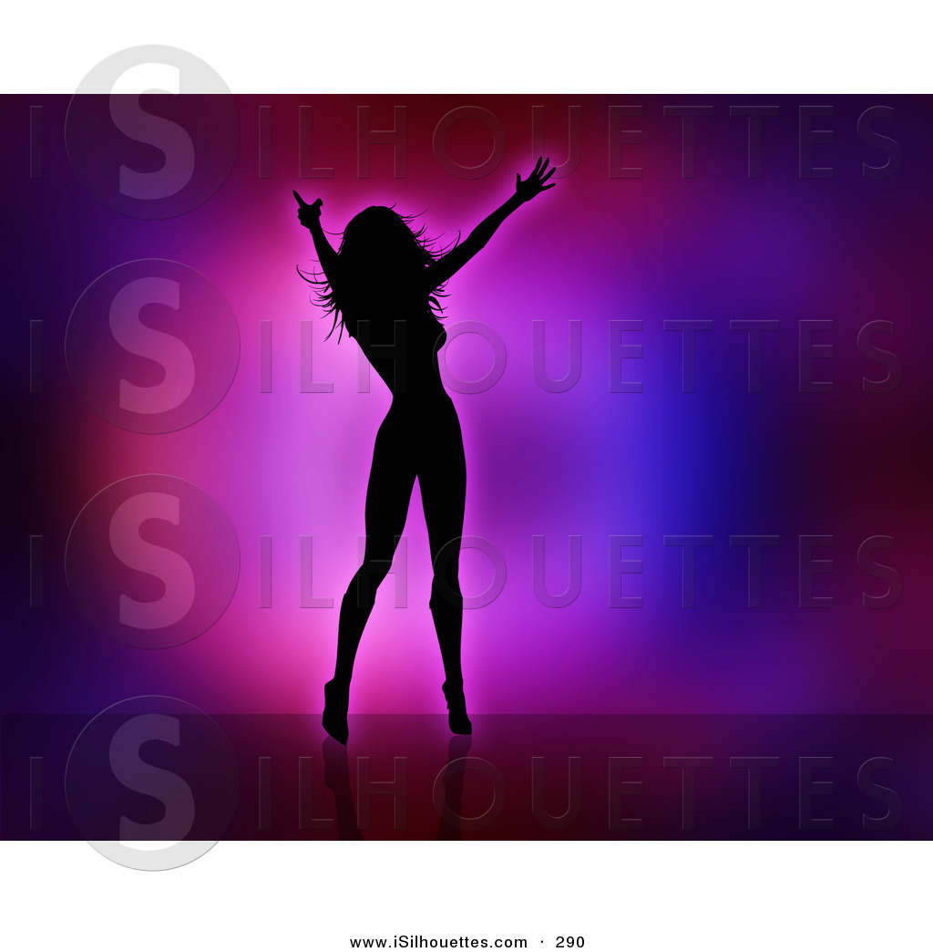 Silhouette Clipart of a Black Silhouetted Celebrity Woman Dancing.