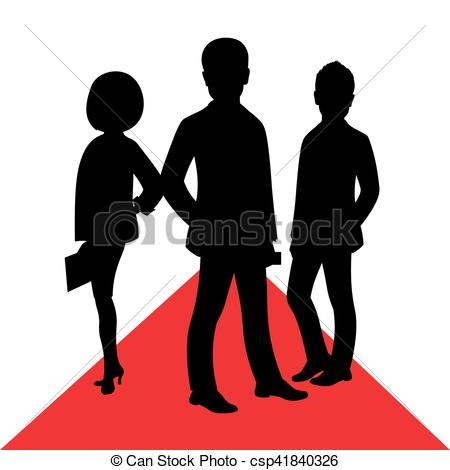 Business celebrity silhouette on red carpet. Male female People posing  vector.
