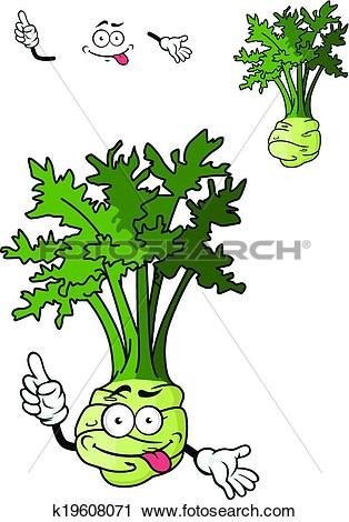 Clipart of Funny cartoon celery vegetable k19608071.