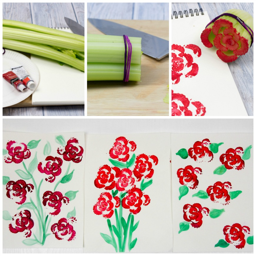 Printing Flowers with Celery Stalks.