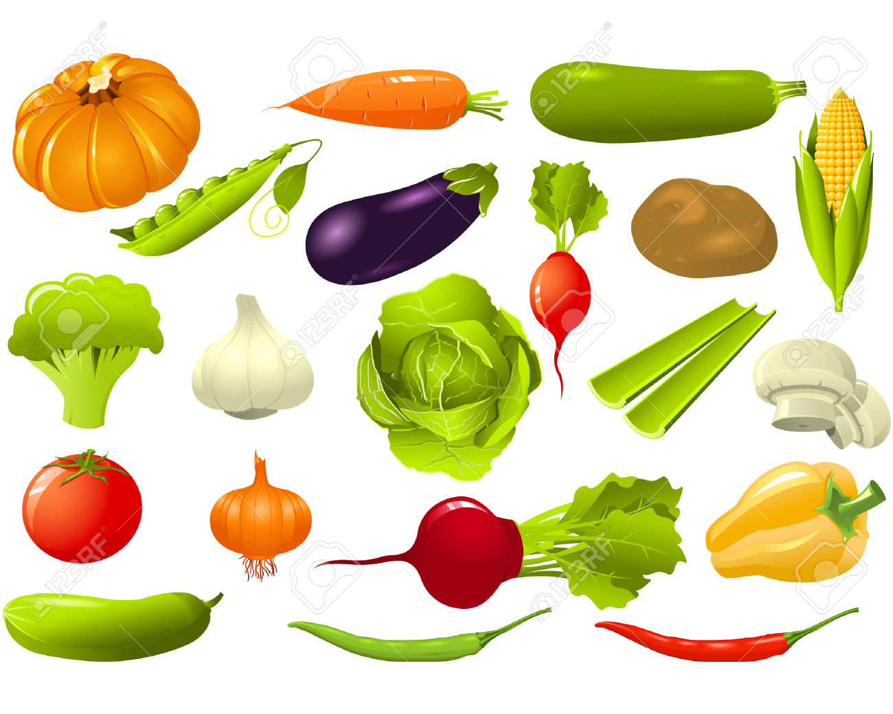 Set Of Vegetables Royalty Free Cliparts, Vectors, And Stock.