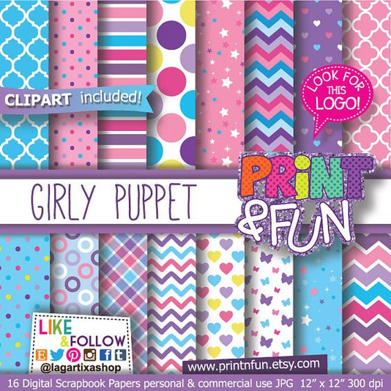 Girly Puppet, Pink, Purple, Celeste blue, Patterns, Digital Paper.