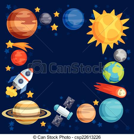 Vector Illustration of Background of solar system, planets and.
