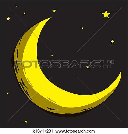 Clipart of moon, star, celestial body, planet, k13717231.