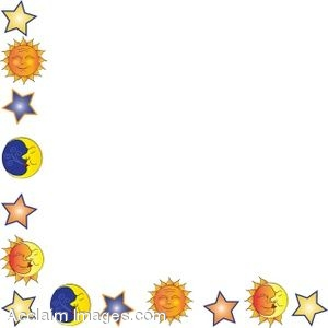 Clip Art of A Celestial Bodies Page Border.