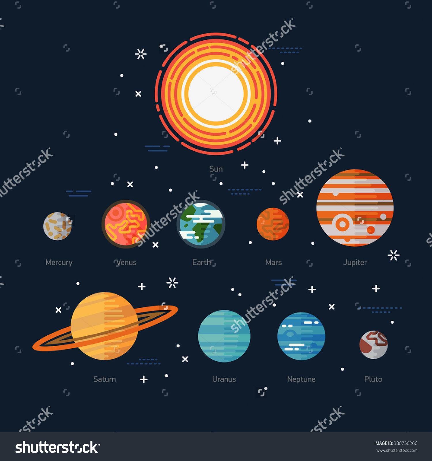 Cool Flat Illustration Solar System Celestial Stock Vector.