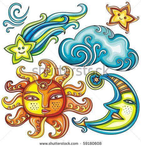 Celestial Sun Moon And Stars Clipart.